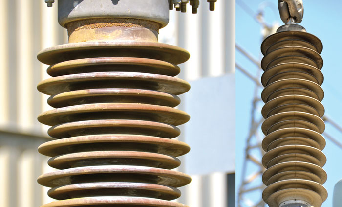 Greased porcelain breaker housing at Ascot 66/11 kV Substation in Cape Town shows high pollution loading. Pollution deposition on polymeric arrester at 132/66 kV Belhar Substation. insulator South African Utility Tested Insulator Performance example21