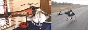 Fig. 12: Examples of mini-helicopters: (left) controlled by professional pilots; (right) controlled automatically by GPS program. composite insulator Comparison of Methodologies to Detect Damaged Composite Insulators fig12 300x103