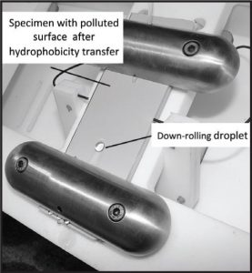 Fig. 2: Hydrophobic artificial pollution layer by transfer. 憎水性在伞套设计中的重要性 憎水性在伞套设计中的重要性 Pic216