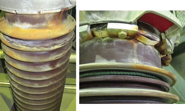 Insulators and hardware show impact of pollution and corrosion after only several years' service. Cable Termination Cable Termination Station Fights Ongoing Battle Against Pollution Pic240