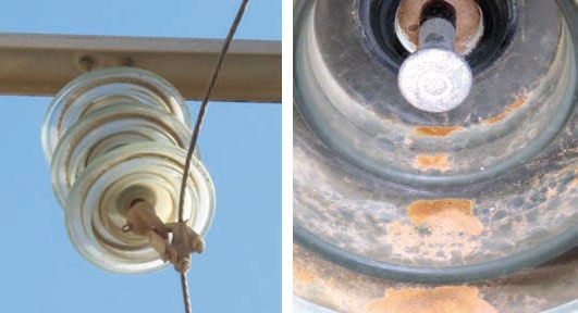 Insulators collect pollution rapidly over Tunisia's long summer. 突尼斯绝缘子的运行经验和维护要求 突尼斯绝缘子的运行经验和维护要求 Pic338