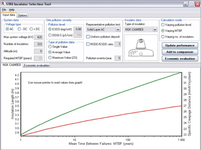 Fig. 2-5: Screen dump of IST program: AC/DC and DDGI-S are available. (Note: This is an example, not any specific insulator-related calculation). pollution monitoring Pollution Monitoring for Improved Insulator Selection Pic46