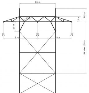 Fig. 2: Typical 300 kV tower at Statnett. re-dimensions insulation Norwegian Utility Re-Dimensioned Insulation in Voltage Upgrade Project nor4 287x300