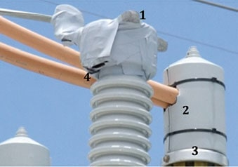 Figure 13: Bad example of animal proofing a substation. 1 2 3 4 1. Exposed metal 2. Metal near exit hole 3. Exposed metal 4. Exposed metal arrester Wildlife Protective Devices for Arresters Fig132