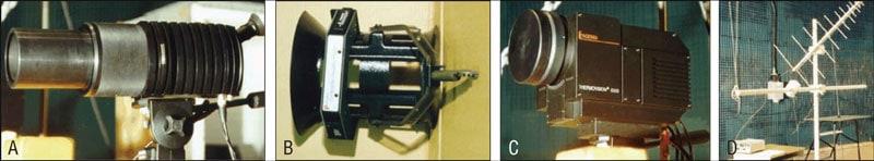 Figure 2: Examples of diagnostic devices. A: UV camera; B: E-field probe; C: IR camera; D: RFI locator. 用于检测复合绝缘子内部缺陷的直升机红外技术的应用 用于检测复合绝缘子内部缺陷的直升机红外技术的应用 Fig27