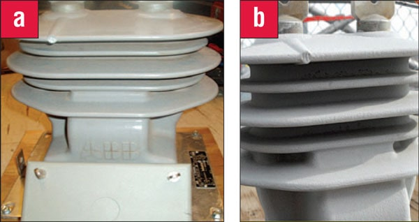Figure 3: (a) New current transformer (b) Sand-blasted current transformer with average surface roughness of 50 ?m. epoxy insulated Performance of MV Epoxy Insulated Outdoor Equipment Fig32