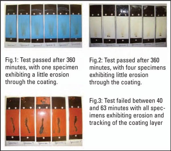 图一: 测试时间为 360分钟,一个样本的 涂层出现蚀损。图.二: 测试时间为360分钟,四个样本的涂层 出现蚀损。图三: 在40到63分钟时测试失败,所有样本 的涂层均出现蚀损和起痕 RTV涂层的材料特性 RTV涂层的材料特性 Pic115