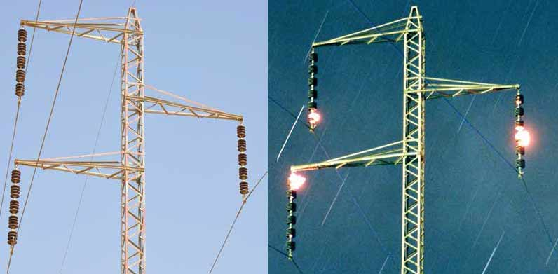 Comparison of porcelain insulator strings by day and during onset of early morning wetting by dew. bushings Composite Bushings with RTV Coatings Combat Pollution at Substation in Israel ins