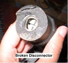 Figure 6: Problem due to improper installation. 69 kV disconnector broke because lead was too tight arresters Past Experience at Canadian Utility with Surge Arresters on Transmission Lines fig6