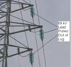 Figure 5: Example of manufacturing defect. 69 kV arresters with poor crimp on lug allowing strands to pull out. arresters Past Experience at Canadian Utility with Surge Arresters on Transmission Lines fig8