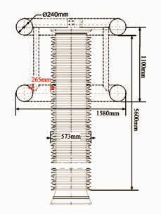 Fig. 6: Dimensions of ±500 kV DC voltage dividers at Jiangling and Longquan Converter Stations. HVDC Converter Station Resolving External Insulation Problems at HVDC Converter Stations Topic 2 Oct 27 Weekly 26