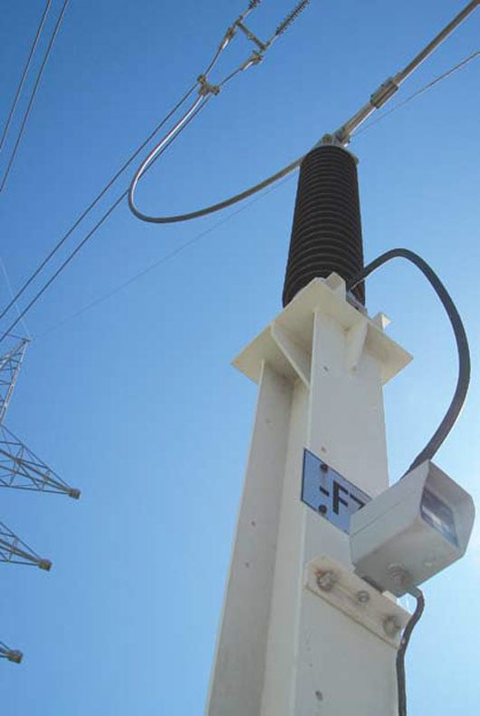 Figure 1: Surge counter mounted on arrester pedestal. 在线避雷器状态监测和离线避雷器现场测试最新技术概览 在线避雷器状态监测和离线避雷器现场测试最新技术概览 Topic 3 Oct 13 Weekly 2