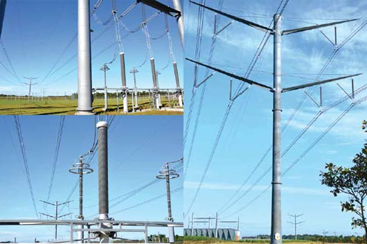Line transitions to cable at entrance to GIS switching station near town of Vejen. line Aesthetic Design Helped Danish TSO Obtain Approval for New 400 kV Line Line transitions to cable