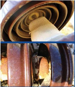 Examples of pollution and corrosion affecting porcelain cap & pin insulators on Crete. test station Expanded Test Station Helps Greek Power System Operator Assess Insulator Design & Performance tp1 expl