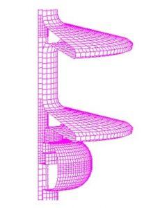 Fig 3: Element configuration on 34.5 kV composite insulator model. Distribution Electric Field & Voltage Distribution Along Non-Ceramic Insulators fig3 207x300