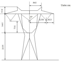 Fig. 8. Geometry and dimensions of 765 kV power line tower with four sub-conductor bundles. Distribution Electric Field & Voltage Distribution Along Non-Ceramic Insulators fig8 300x259