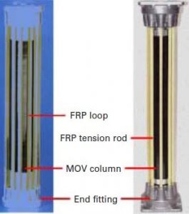 Figure 4: Internal structure of Type B2 arresters: loop (left) and rod designs surge arrester Designs & Applications for Station-Class Polymeric Surge Arresters tpc4 fig4 264x300