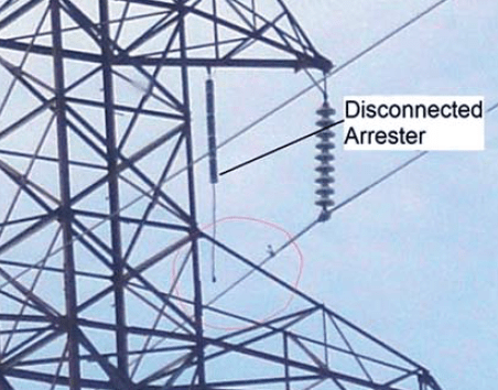 Fig. 4: Line arrester that disconnected arresters Past Experience at Canadian Utility with Surge Arresters on Transmission Lines Screen Shot 2017 07 21 at 13