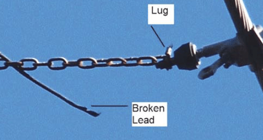 Fig. 11: 138 kV lead broken away from lug. Problem still being investigated. arresters Past Experience at Canadian Utility with Surge Arresters on Transmission Lines Screen Shot 2017 07 21 at 14