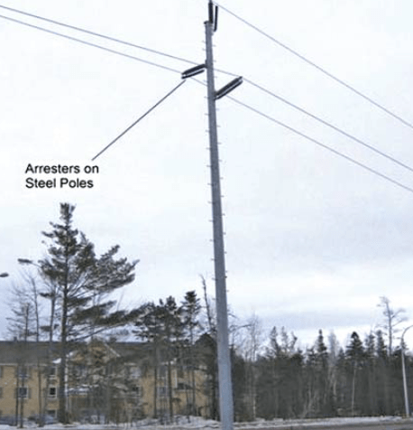 Fig. 12: 138 kV single steel pole side post design. arresters Past Experience at Canadian Utility with Surge Arresters on Transmission Lines Screen Shot 2017 07 21 at 14