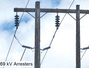 Fig. 15: 69 kV arrester installation on wood pole H-Frame structures. arresters Past Experience at Canadian Utility with Surge Arresters on Transmission Lines Screen Shot 2017 07 21 at 14