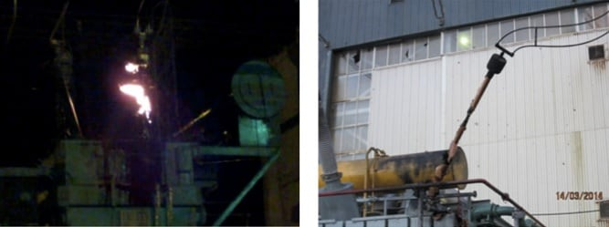 Fig. 5: Bushing failure with transformer ablaze. hv bushing Experience in Mexico Evaluating HV Bushings Retired from Service exampleOf