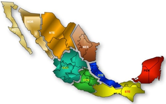 Fig. 1: Transmission areas in Mexico. hv bushing Experience in Mexico Evaluating HV Bushings Retired from Service tpc4 fig1