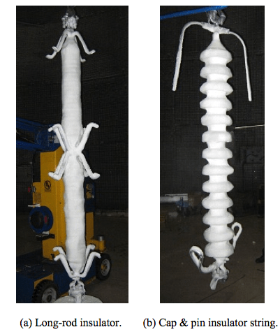 Fig. 12: Snow accreted insulators.  flashover voltage Evaluating Flashover Voltage Properties of Snow Accreted Transmission Insulators Screen Shot 2016 02 26 at 11