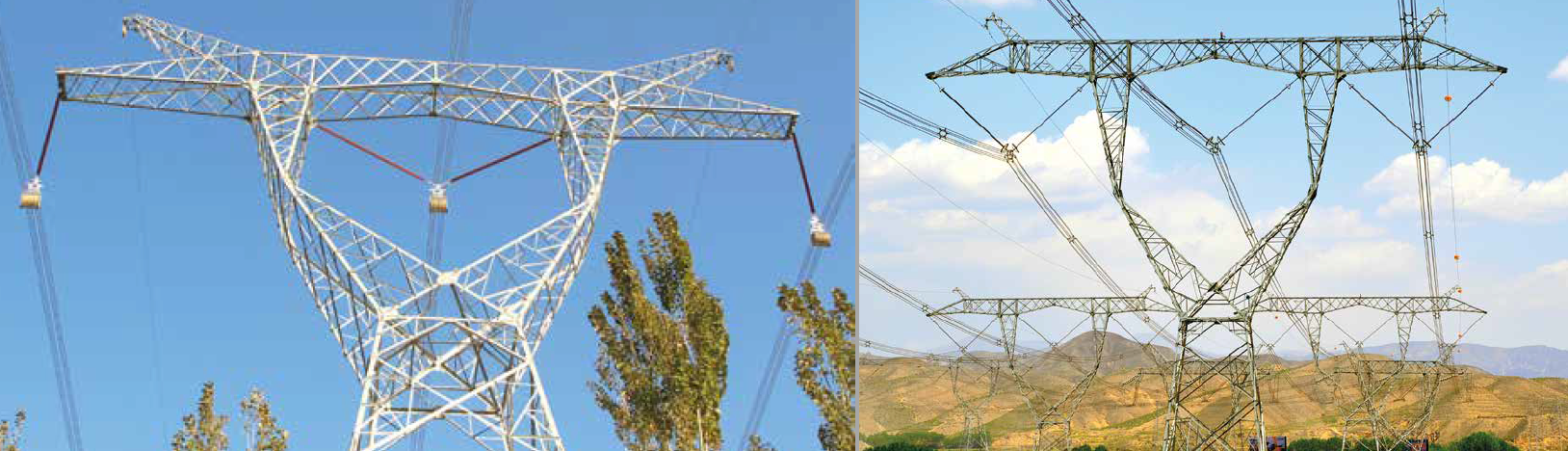 Typical design of 750 kV suspension towers see only silicone insulators used. substation Shazhou Will Serve as China's 'Demonstration' Project for All-Composite-Insulated Substation Screen Shot 2016 07 20 at 13