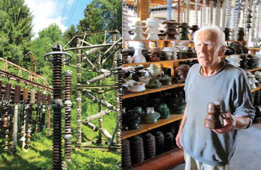 Bohumil, Frantisek's father, holds unique wooden insulator. A Passion for Insulators A Passion for Insulators Screen Shot 2016 04 04 at 9