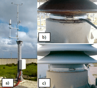 View of ILCMS system installed on 400 kV post insulators: a) boxes with acquisition & control system, meteorological station; b) and c) post-insulator without and with RTV coating. substation insulator Monitoring Pollution on Line & Substation Insulators Screen Shot 2016 04 14 at 2