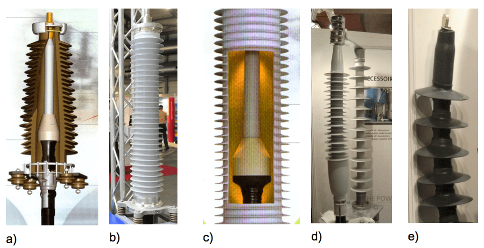 a) Fluid filled HV termination with porcelain insulator; b) Fluid filled HV termination with composit insulator; c) Stress control element, insulator filled with gel or gas; d) Slip-on dry type HV termination; e) Cold-shrink dry type HV termination [object object] Future of Cable & Accessory Design: MV to EHV Screen Shot 2016 04 28 at 3