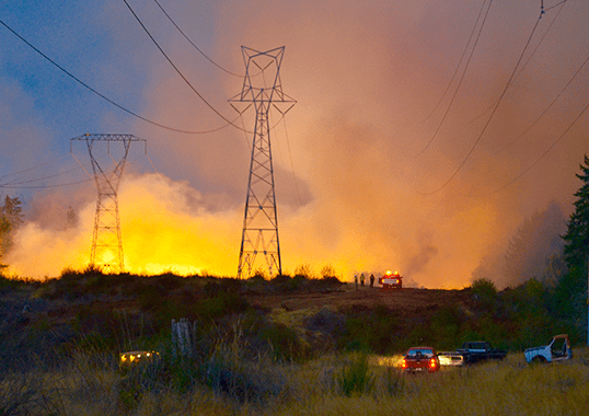transmission line Wildfire Hazard to Transmission Lines fire tranmission tower