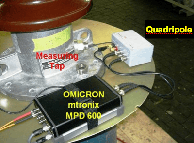 Fig. 20: PD instrument and quadripole at tap.  bushings Diagnostic Measurement & Monitoring of HV Bushings Screen Shot 2016 05 19 at 4