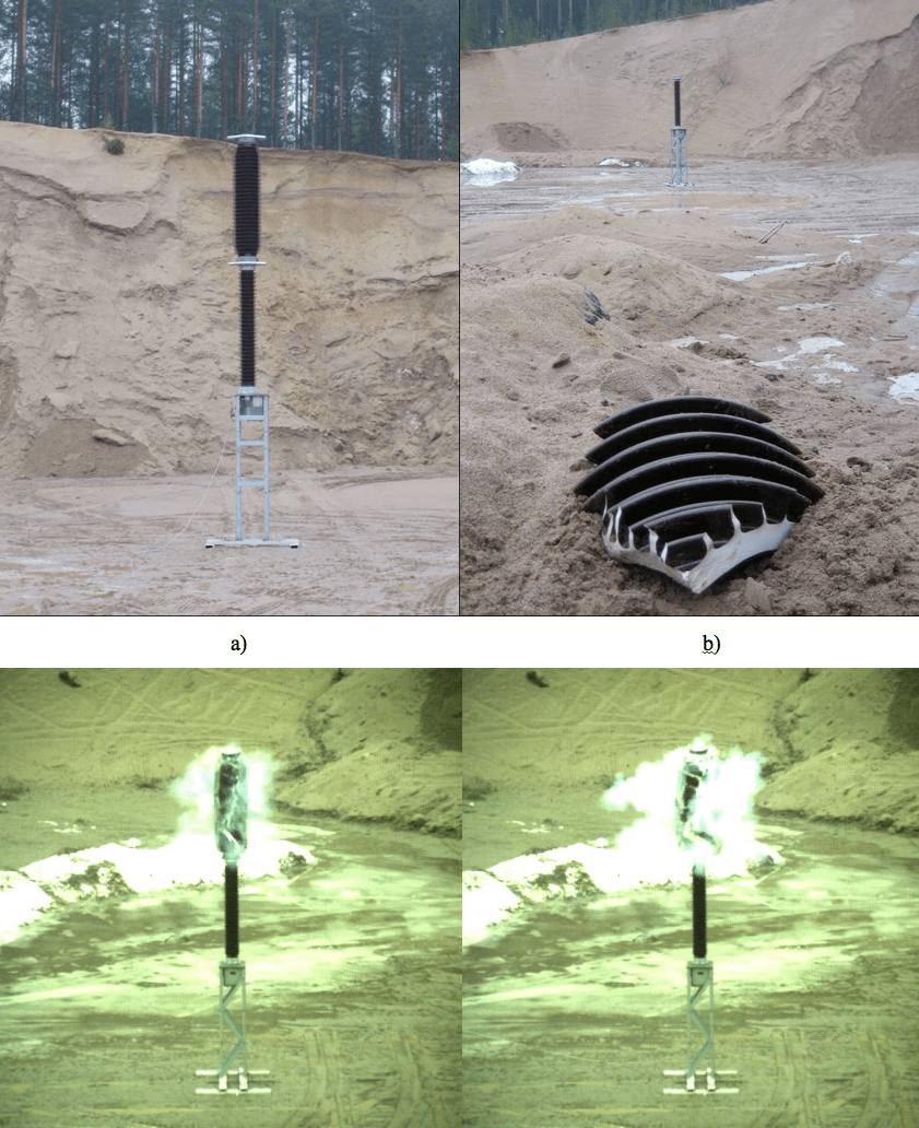 Fig. 3: Porcelain insulator, a) before shatter test, b) after shatter test, c) 6 ms after impact, d) 12 ms after impact.  composite insulator Safety Considerations Favor Hollow Core Composite Insulators Screen Shot 2016 05 20 at 1