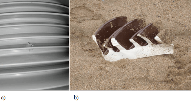 Fig. 5: a) Puncture of composite insulators, b) jagged porcelain fragment composite insulator Safety Considerations Favor Hollow Core Composite Insulators Screen Shot 2016 05 20 at 1