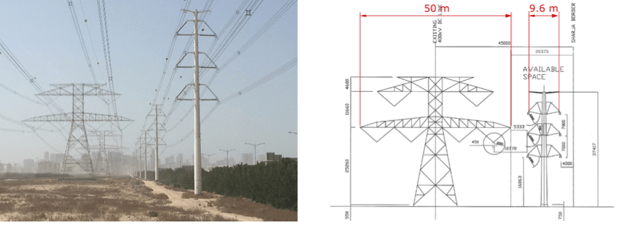 Fig. 3: Two 420 kV lines with same transmission power in Dubai. Compact solution uses aesthetic tubular pole. composite insulators Line Compaction Using Composite Insulators: Current Situation & Future Outlook Screen Shot 2016 05 20 at 11