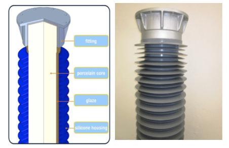 Fig. 2: Hybrid solid core post insulator. hybrid insulator Technical Review of Hybrid Insulators Screen Shot 2016 05 26 at 2