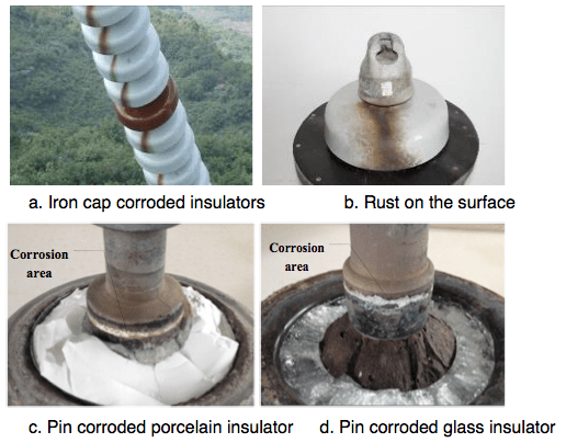 Fig. 1: Hardware corroded insulators on ± 800 kV Chusui Line. corrosion Corrosion of Disc Insulators on DC Lines in China Screen Shot 2016 05 27 at 10
