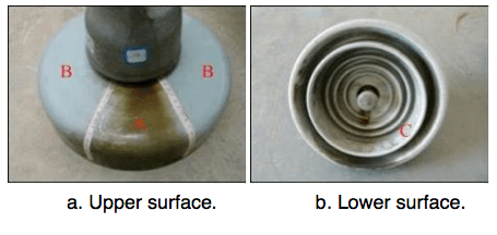 Fig. 6: Division of insulator surface. corrosion Corrosion of Disc Insulators on DC Lines in China Screen Shot 2016 05 27 at 10