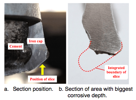 Fig. 13: Sections of iron cap without zinc ring. corrosion Corrosion of Disc Insulators on DC Lines in China Screen Shot 2016 05 27 at 11