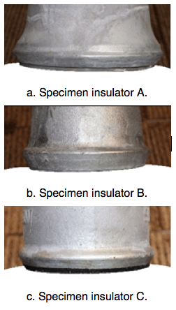 Fig. 15: Zinc rings installed on different structure insulators. corrosion Corrosion of Disc Insulators on DC Lines in China Screen Shot 2016 05 27 at 11