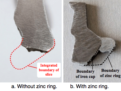 Fig. 17: Sections of iron cap with and without zinc ring. corrosion Corrosion of Disc Insulators on DC Lines in China Screen Shot 2016 05 27 at 11