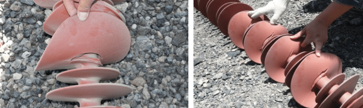 Fig. 1: Examples of shed tearing on composite insulators in service on 750 kV lines. composite insulator Shed Tearing on Composite Insulators in Service Areas with High Wind Screen Shot 2016 05 27 at 2