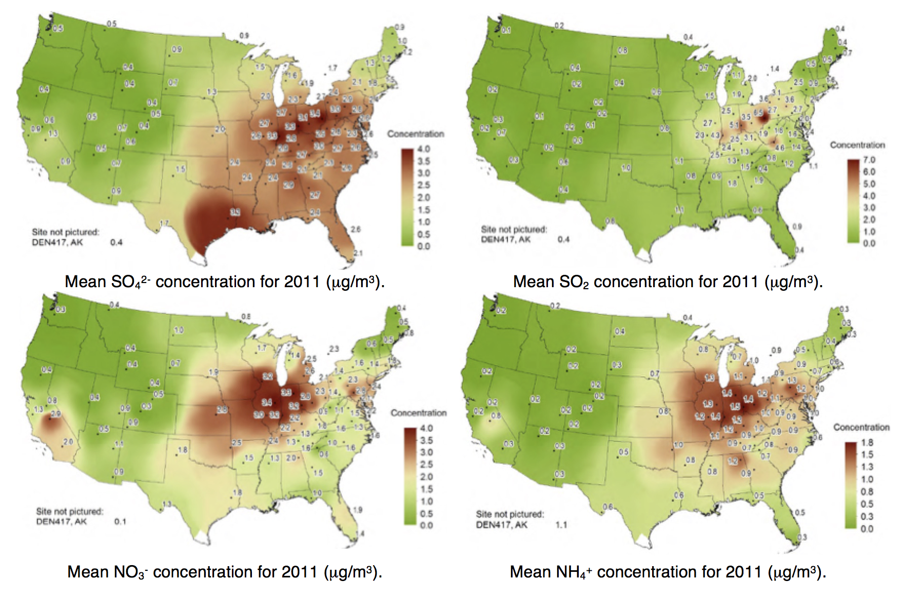 Fig. 8: Measured dry deposition concentrations in 2011 CASTNET. selecting insulators using satellite measurements of air pollution Selecting Insulators Using Satellite Measurements of Air Pollution Screen Shot 2016 06 02 at 4