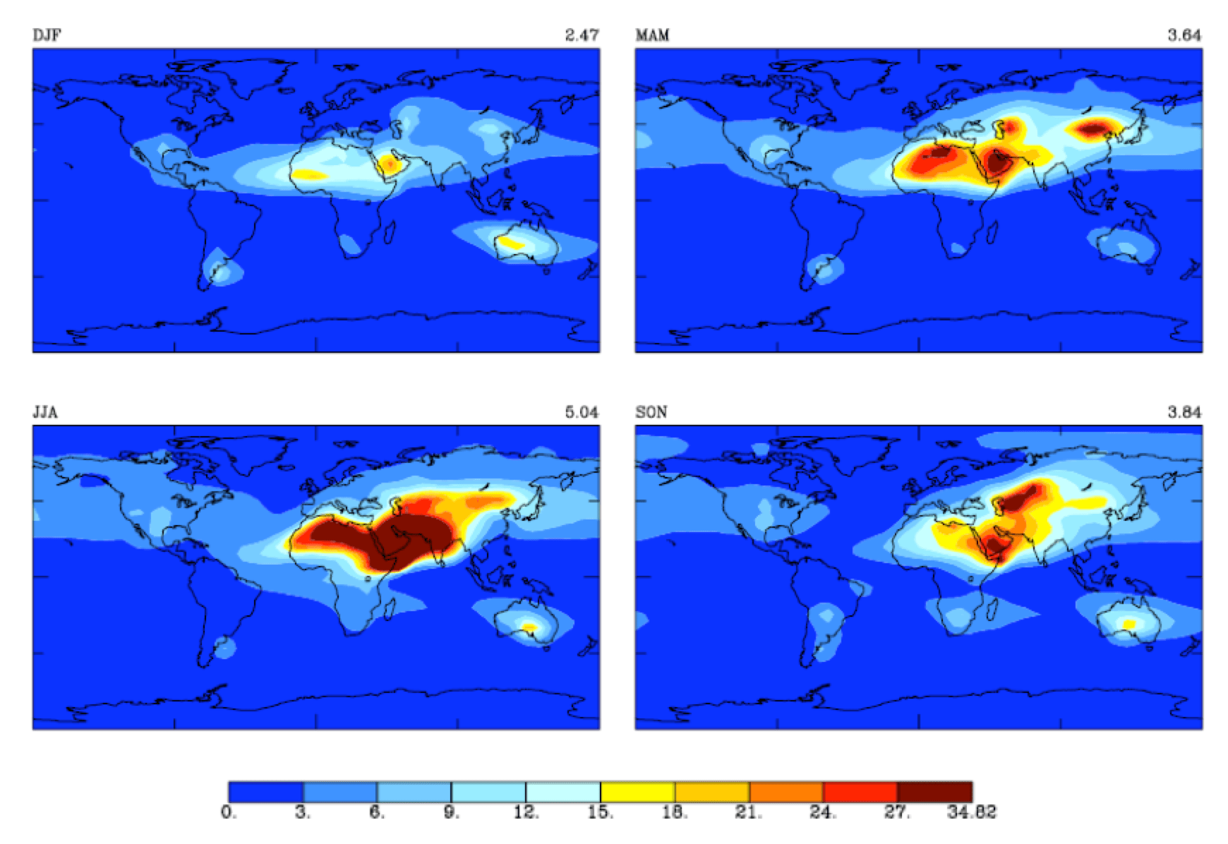 Fig. 10: Optical thickness of air columns for concentrations of: HCHO 1; SO2 1; NO2 50; O3¬ 807 (x 1016 molecules/cm2 cross section).  selecting insulators using satellite measurements of air pollution Selecting Insulators Using Satellite Measurements of Air Pollution Screen Shot 2016 06 02 at 4