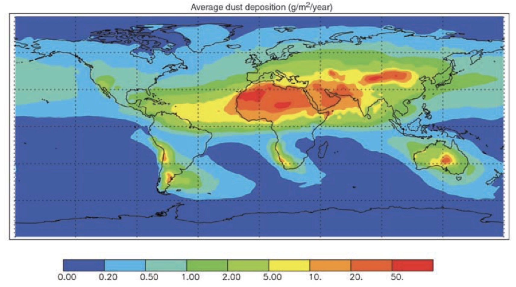 Fig. 12: Annual dust flux (g/m2/year) based on composite of three studies matching satellite optical depth to ground-based measurements. selecting insulators using satellite measurements of air pollution Selecting Insulators Using Satellite Measurements of Air Pollution Screen Shot 2016 06 02 at 4