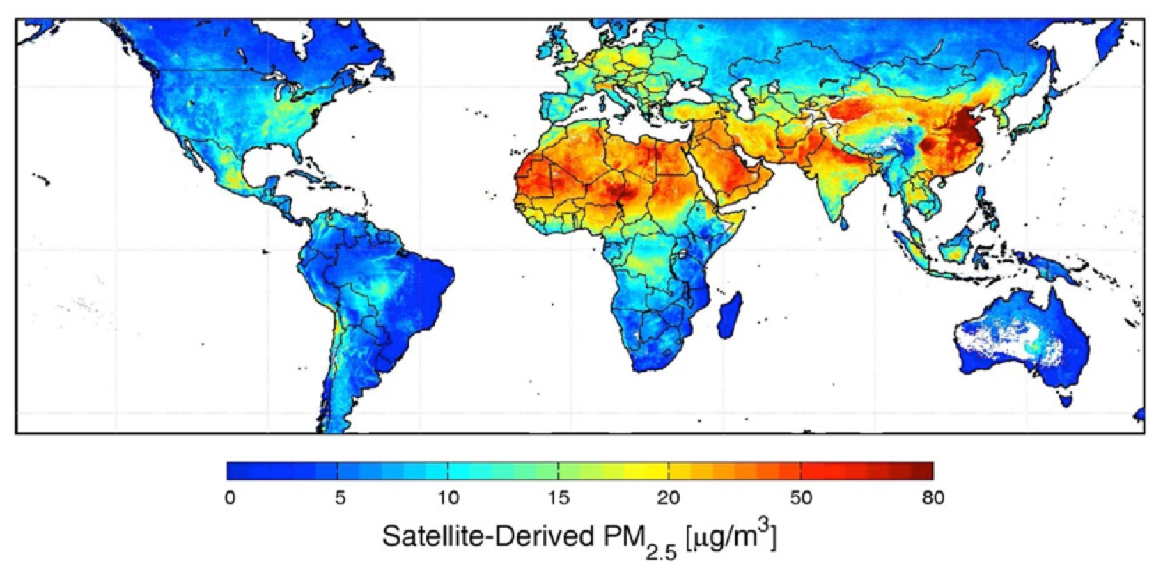 Fig. 13: Global satellite-based PM2.5 averaged over 2001-2006. White space indicates water or locations containing <50 measurement selecting insulators using satellite measurements of air pollution Selecting Insulators Using Satellite Measurements of Air Pollution Screen Shot 2016 06 02 at 4