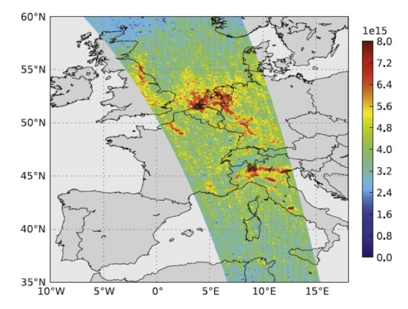 Fig. 15: Typical swath of OMI coverage for NO2 concentration on Sept. 12, 2006, a day with few clouds. Ground pixels are 13x12 km.  selecting insulators using satellite measurements of air pollution Selecting Insulators Using Satellite Measurements of Air Pollution Screen Shot 2016 06 02 at 4