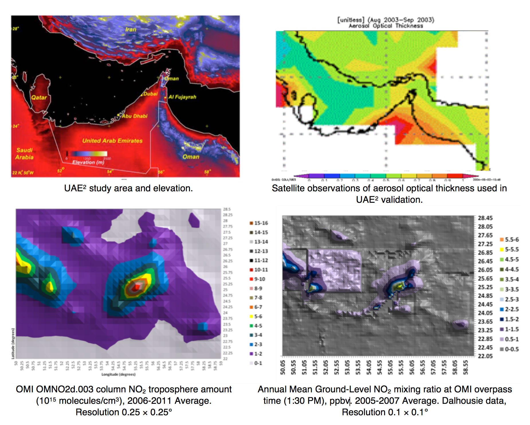 Fig. 16: Improvements in spatial resolution of pollution concentration for UAE2 study area.  selecting insulators using satellite measurements of air pollution Selecting Insulators Using Satellite Measurements of Air Pollution Screen Shot 2016 06 02 at 4